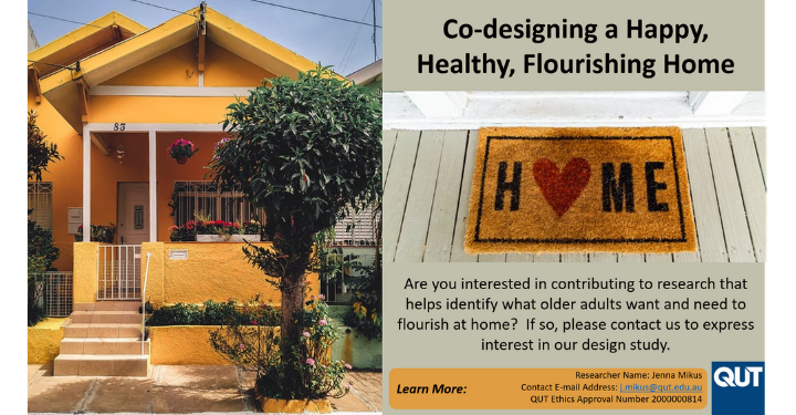 An invitation from QUT to participate in research on Co-designing a Happy, Healthy, Flourishing Home preview image